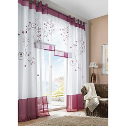 Mediashopping - Tenda in voile con ricamo bordeaux, 140x300 cm