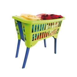 Mediashopping - Cesto portabiancheria in plastica con gambe retrattili, colori assortiti