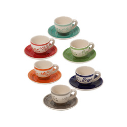 Mediashopping - Set da caffè tazzine in ceramica colorata