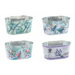 Mediashopping - Jungle vaso zinco 22,5x13,5x11,3 altezza cm 4 ass.
