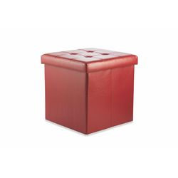 Mediashopping - POUFF CONTENITORE ECOPELLE ROSSO  38X38X37,5CM
