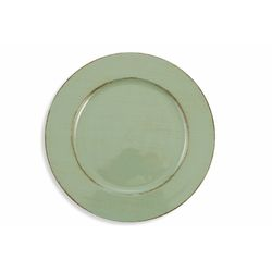 Mediashopping - Sottopiatto verde scuro con bordino marrone diam.