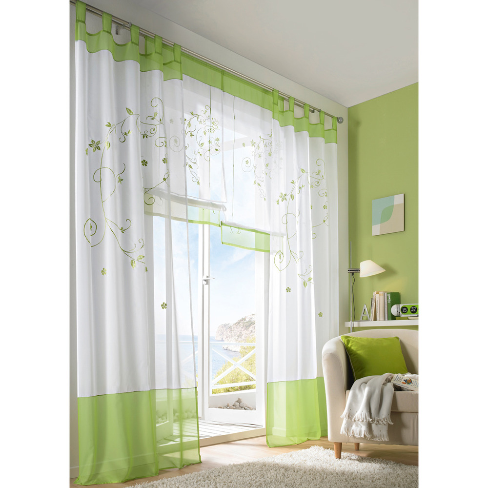 Tenda in voile con ricamo verde 140x300 cm mediashopping for Tende in voile