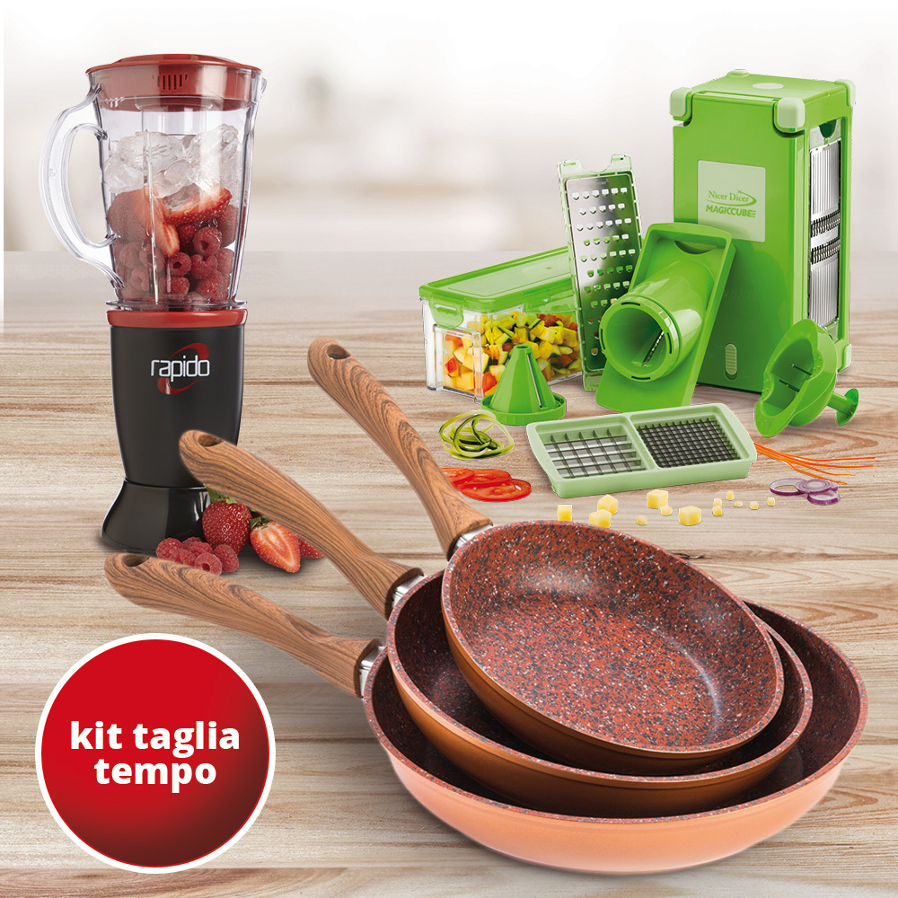 Padelle Copper Stone + Nicer Dicer + Mixer Rapido