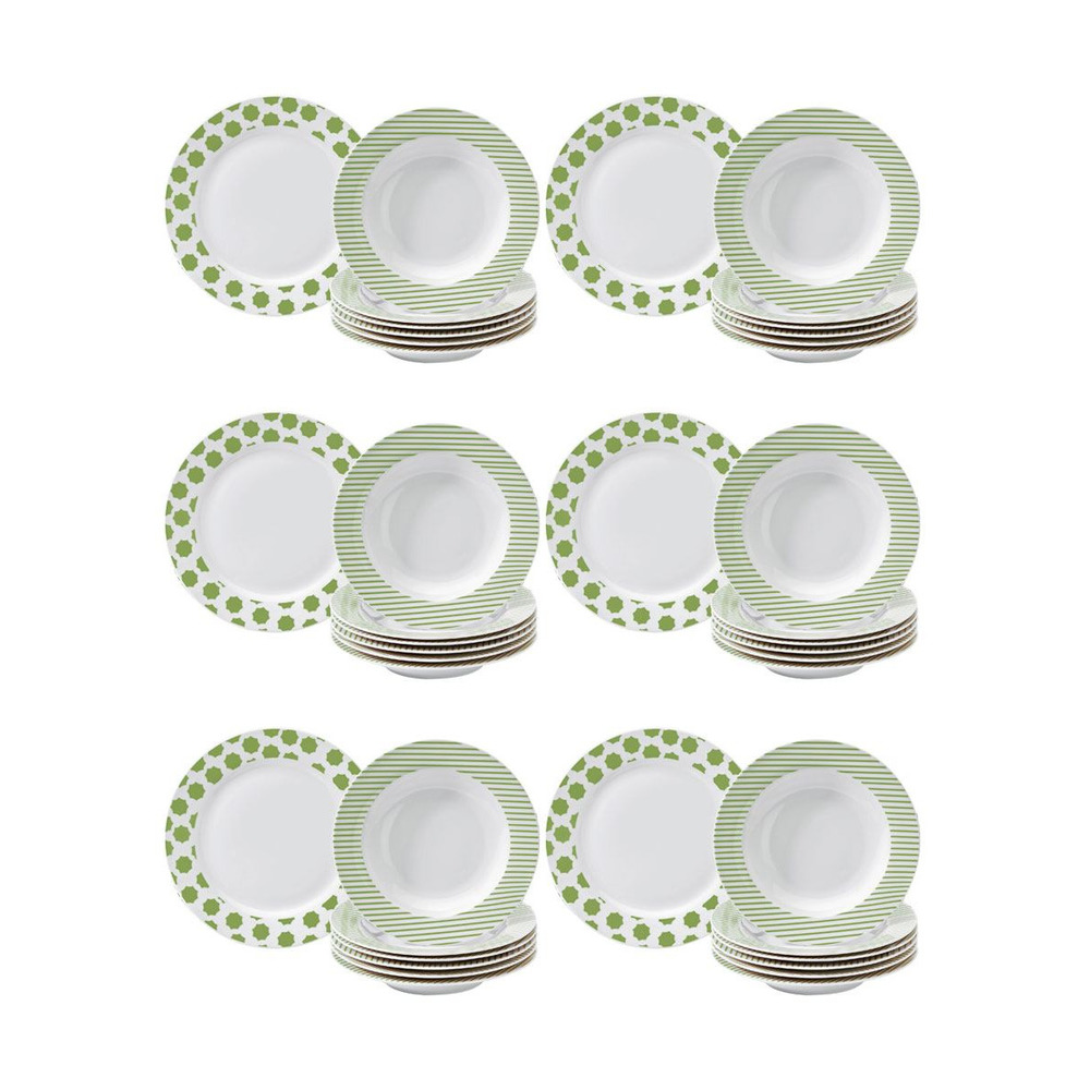 Set di 12 piatti star verdi